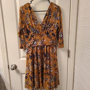 Modcloth Fall Mustard Jessy B Long Sleeve Dress